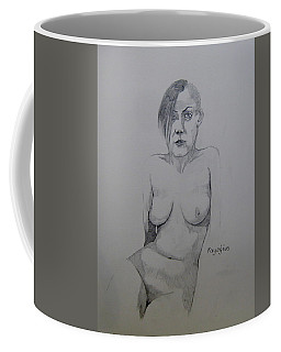 Coffee Mug featuring the drawing Sketch Reclining Cassie by Ray Agius