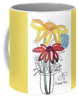 Sketchbook Flowers Thank You- Art By Linda Woods Coffee Mug