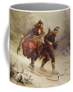 Coffee Mug featuring the painting Skiing Birchlegs Crossing The Mountain With The Royal Child by Knud Bergslien