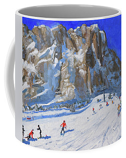 Skiing Down The Mountain,selva Gardena Coffee Mug