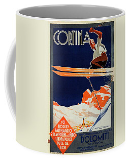 Skiing On The Alps In Cortina - Ice Hockey Tournament - Vintage Advertising Poster Coffee Mug