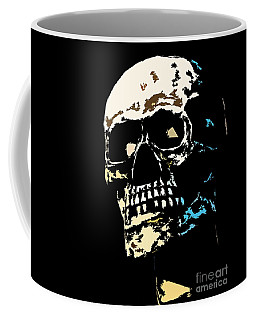 Coffee Mug featuring the photograph Skull Against A Dark Background by Nick  Biemans