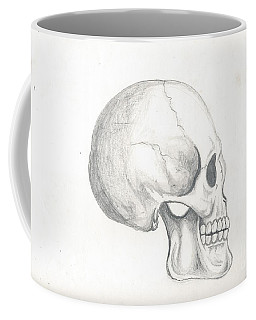 Coffee Mug featuring the drawing Skull Study by Reed Novotny