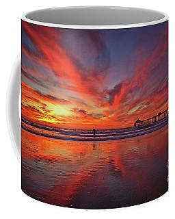 Sky On Fire At The Imperial Beach Pier Coffee Mug