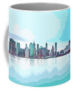 Skyline Of New York City, United States In Blues Coffee Mug
