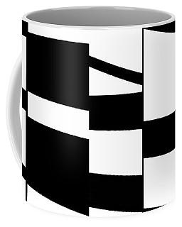 Coffee Mug featuring the digital art Slanting Rectangles - Black And White Graphic Art by Menega Sabidussi