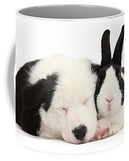 Sleeping In Black And White Coffee Mug
