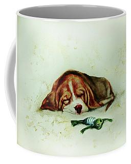 Sleeping Puppy And Sleeping Froggy Coffee Mug by Elena Vedernikova