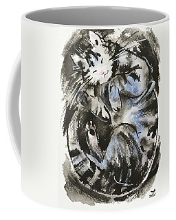 Coffee Mug featuring the painting Sleeping Tabby Cat by Zaira Dzhaubaeva