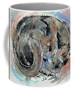 Coffee Mug featuring the painting Sleeping Tortoiseshell Cat by Zaira Dzhaubaeva