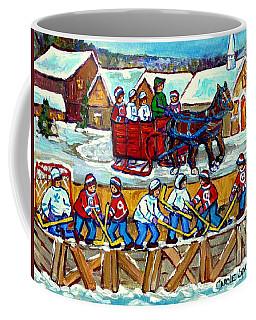 Sleigh Ride To The Hockey Rink Canadian Village Landscape Painting Quebec Winter Scene Art C Spandau Coffee Mug