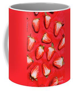 Sliced Red Strawberry Background Coffee Mug