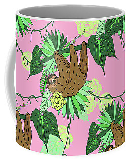 Sloth - Green On Pink Coffee Mug