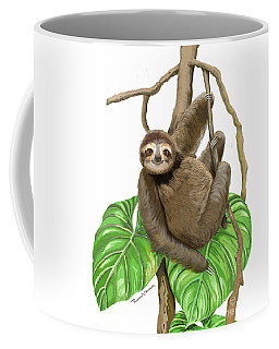 Hanging Three Toe Sloth  Coffee Mug