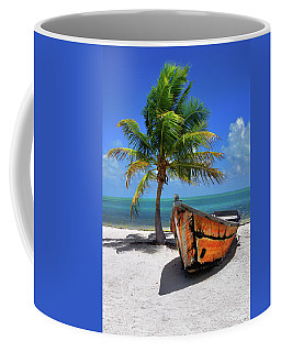 Small Boat And Palm Tree On White Sandy Beach In The Florida Keys Coffee Mug
