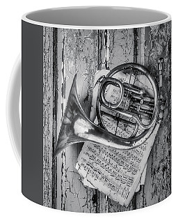 Small French Horn Black And White Coffee Mug