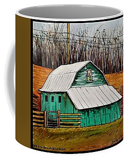 Small Green Barn With Quilted Window Coffee Mug