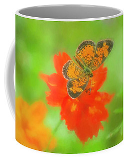 Small Orange And Black Moth On Red Flower. Coffee Mug