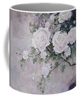 Coffee Mug featuring the painting Smell The Roses  by Laura Lee Zanghetti