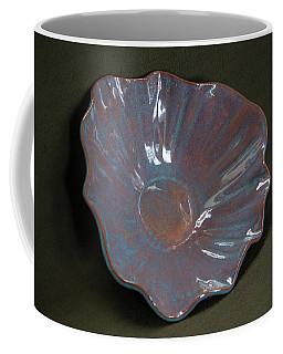 Smokey Merlot And Textured Turquoise Scalloped Bowl Coffee Mug