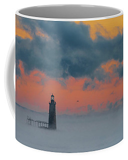Smokey Sunrise At Ram Island Ledge Light Coffee Mug