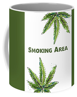 Coffee Mug featuring the mixed media Smoking Area - Art By Linda Woods by Linda Woods
