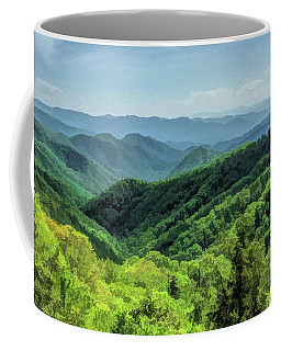 Coffee Mug featuring the painting Smoky Mountains Lush Hills by Christopher Arndt