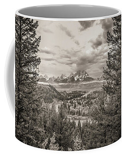 Coffee Mug featuring the photograph Snake River Overlook Grand Teton Monochromatic by Scott McGuire