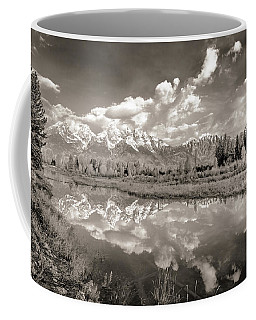 Coffee Mug featuring the photograph Snake River Reflection Grand Teton Monochromatic by Scott McGuire