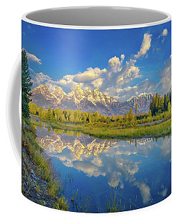Coffee Mug featuring the photograph Snake River Reflection Grand Teton by Scott McGuire