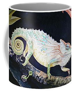 Coffee Mug featuring the painting Sneaky Chameleon  by Irina Sztukowski