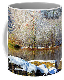 Coffee Mug featuring the photograph Snow Across The Lake by Randy Bayne