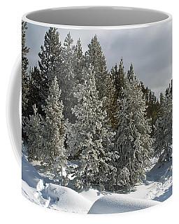Snow And Ice Covered Evergreens At Sunset Lake  Coffee Mug
