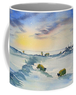 Snow And Sheep On The Moors Coffee Mug