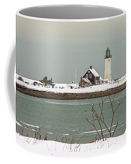 Snow At Scituate Lighthouse Coffee Mug