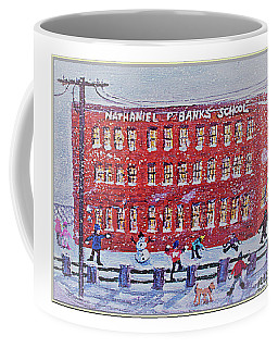 Coffee Mug featuring the painting Snow Ball Fight At Banks School by Rita Brown
