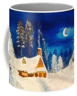 Coffee Mug featuring the painting Snow Cottage by Audrey Pollitt