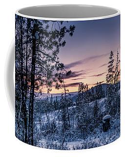 Snow Coved Trees And Sunset Coffee Mug