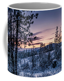 Snow Coved Trees And Sunset Coffee Mug