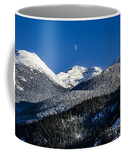 Snow Covered Mountains And Moon Coffee Mug