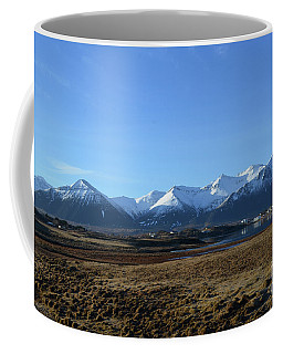 Snow Covered Rhyolite Mountains On Snaefellsnes Peninsula Coffee Mug by DejaVu Designs