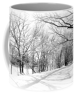 Snow Covered River Road Coffee Mug