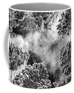 Snow Covered Trees Black And White Coffee Mug
