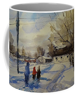 Coffee Mug featuring the painting Snow Day by Sandra Strohschein