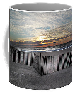 Snow Fence At Coopers Beach Coffee Mug