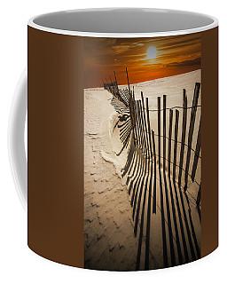 Snow Fence At Sunset Coffee Mug