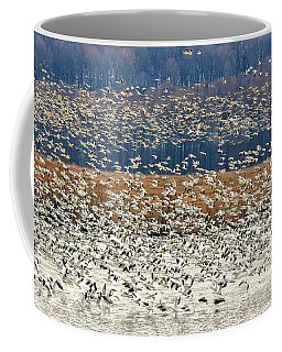 Coffee Mug featuring the photograph Snow Geese At Willow Point by Lois Bryan