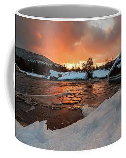 Snow, Ice And Morning Light On The River Coffee Mug