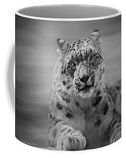Coffee Mug featuring the photograph Snow Leopard  Bw by Sandy Keeton
