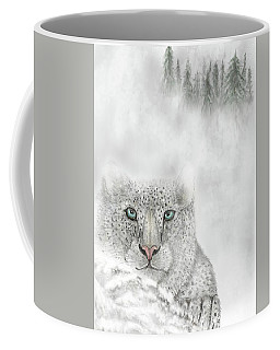 Coffee Mug featuring the digital art Snow Leopard by Darren Cannell